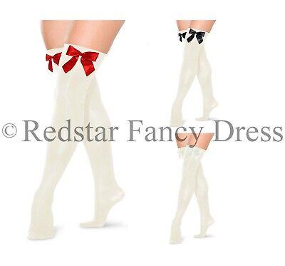 NUOVO Con Fiocco Calze Autoreggenti Coscia Alta Calze Fancy Dress Party Costume σ