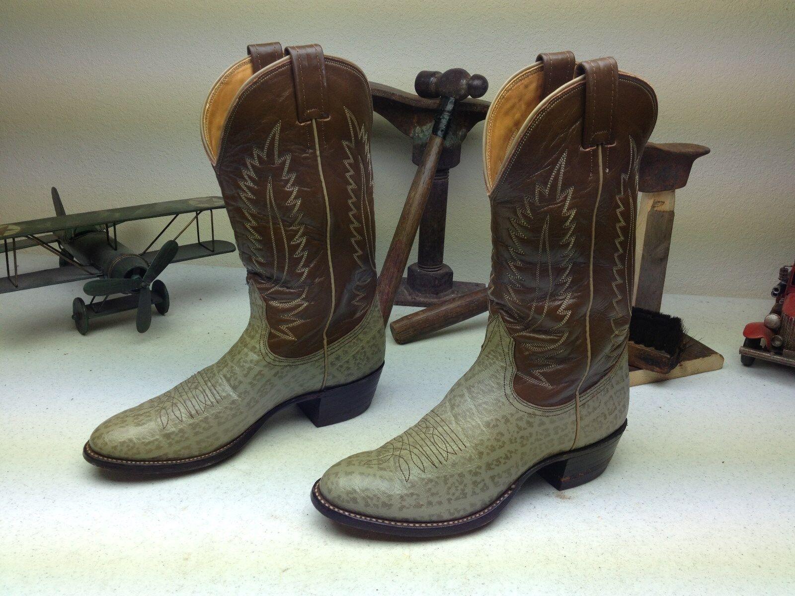 EUC gris Nocona Hecho En Usa De Cuero Marrón Western Cowboy Rodeo botas B