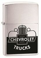 Zippo Lighter: Vintage Chevrolet Trucks - Brushed Chrome