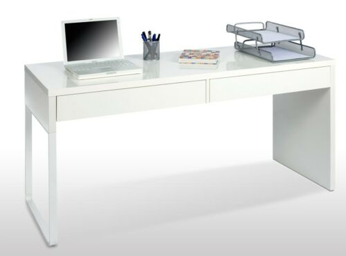 Milan White Gloss Computer Desk Office Table Furniture