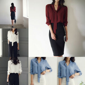 fba47873944e19 Women V Neck Long Sleeve Bow Tie Solid Blouse Chiffon Pullover ...