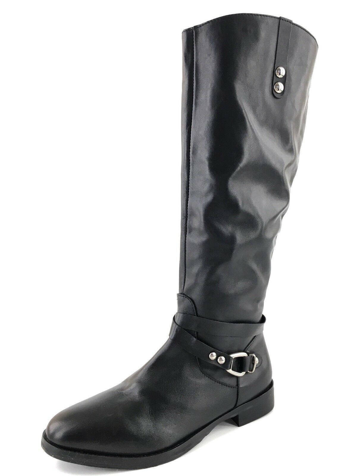 New Charles David Rene Black Leather Knee High Boots Women's Size 7 M