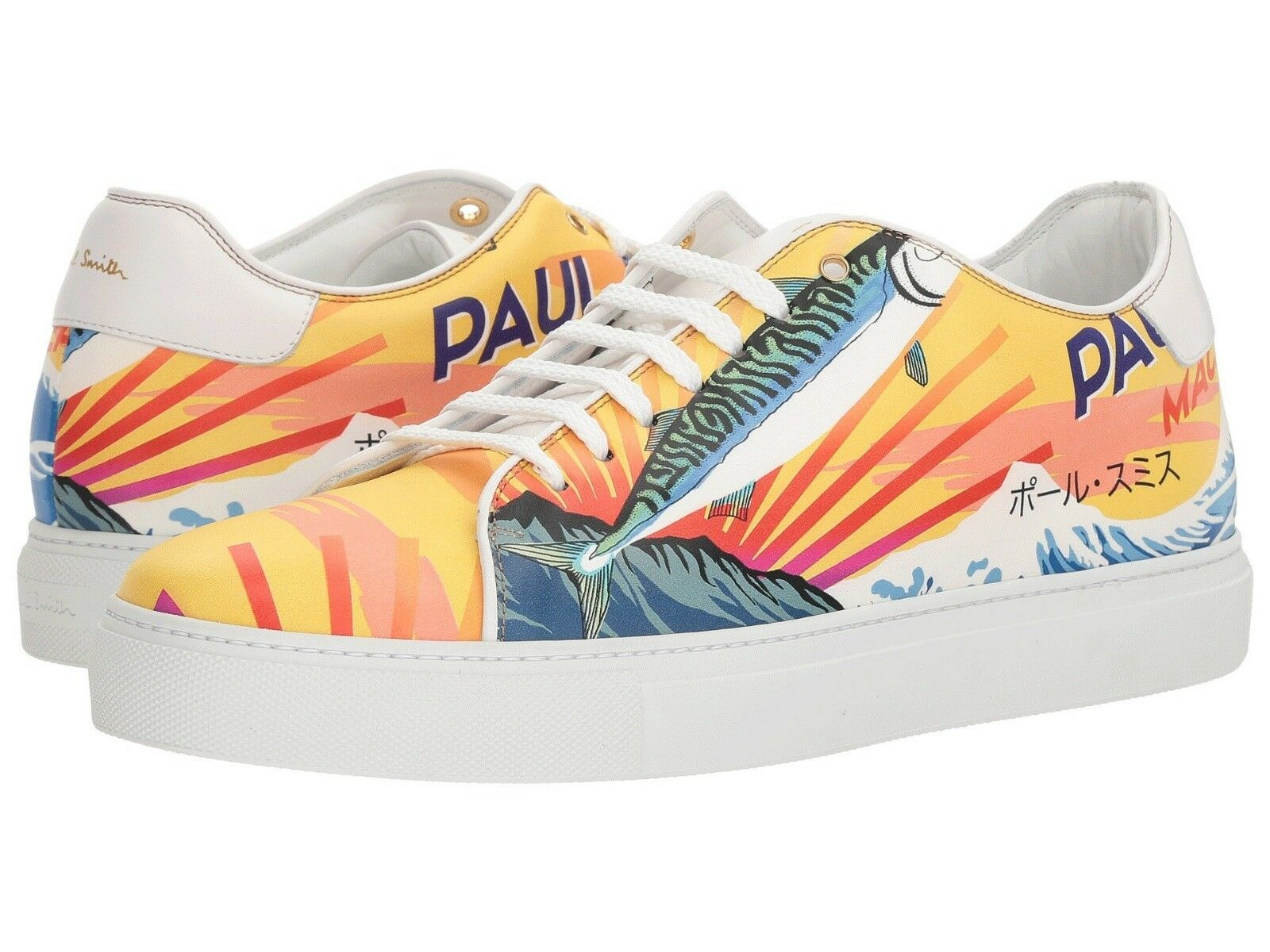 NIB  450 Paul Smith Smith Smith  Basso  Mackerel-print leather scarpe da ginnastica. Made in . 017eed