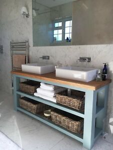 Image Is Loading Solid Oak Handmade Vanity Unit Washstand Bathroom  Furniture