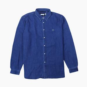 Lacoste Mens Regular Fit Blue Indigo Cotton Denim Long Sleeve Shirt 45 XL BNWT