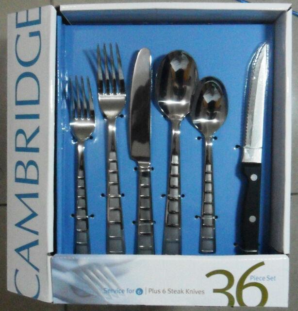 Cambridge Mosaic Sand 18/0 Stainless Flatware Set  36PC spoon fork utensil knife