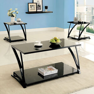 Simple design contemporary black glass top metal frame for Metal frame glass coffee table