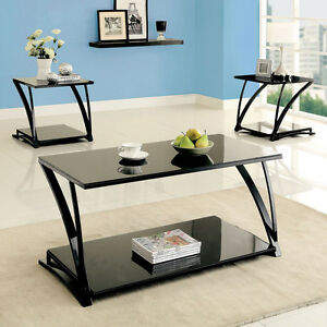 Simple Design Contemporary Black Glass Top Metal Frame Coffee Table Or End Table
