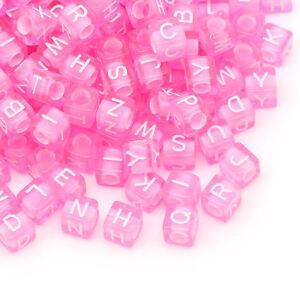 1000-Rosa-Acryl-Wuerfel-Buchstaben-Spacer-Perlen-Beads-6mm