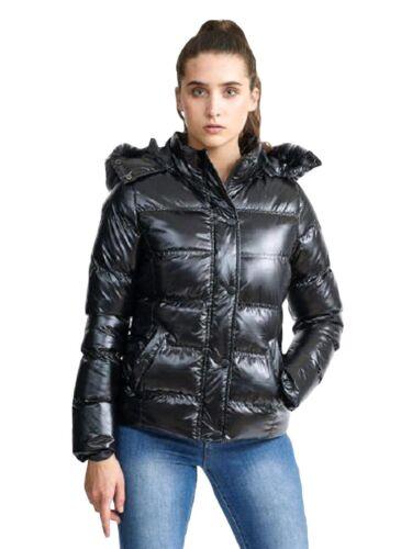 Shine Jacket Hooded Black Womens Fur Coat M Nylon High Brave Polstret Soul Puffer Ladies tTpvwgqR8T