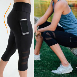 Womens-Capri-YOGA-Workout-Running-Sports-Pants-Leggings-Fitness-Mesh-with-Pocket