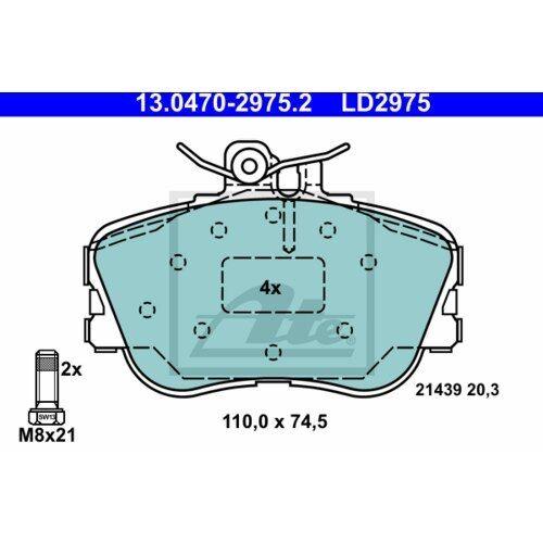 ATE 13.0470-4883.2 Ceramic Bremsbeläge Bremsbelagsatz für MERCEDES-BENZ