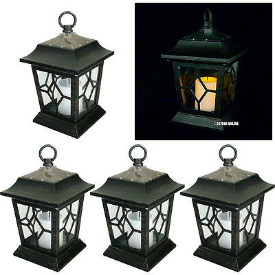PACK OF 4 OUTDOOR SOLAR FLICKERING LED CANDLE LANTERNS COACH LIGHTS GARDEN LAMPS