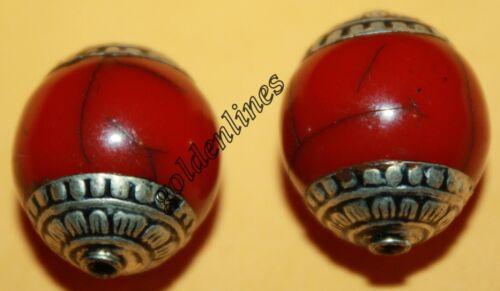 Tibetan Nepalese Handmade Red Resin 2 beads Nepal beads Tibetan beads BDS540