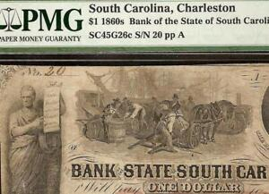 1861-1-LOW-SN-20-SOUTH-CAROLINA-BANK-NOTE-LARGE-CURRENCY-OLD-PAPER-MONEY-PMG-15