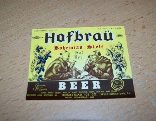 PA Hofbrau Bohemian Style Beer Label IRTP NICE! Vintage Homestead Ice Co