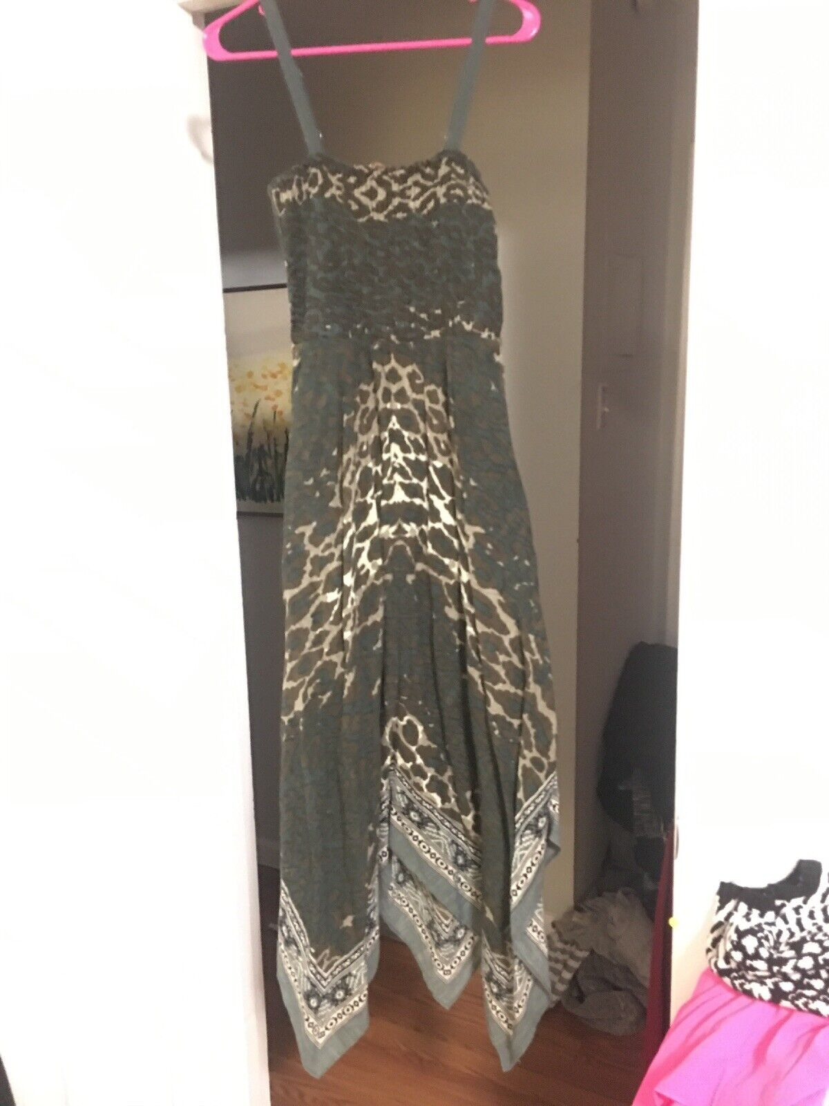 Soft Surroundings Dress S Camouflage Bandana Trim Asymmetrical Long Maxi Dress