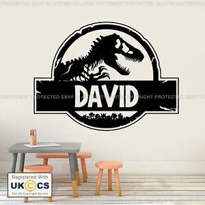 Adesivo-Parete-Dinosauri-JURASSIC-PARK-Personalizzato-Nome-Decalcomanie-in-Vinile-ARTE-Rimovibile