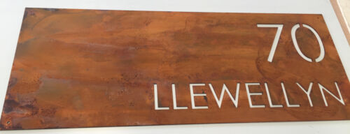 Corten Steel House Sign Rustic Look Unique Custom Made Laser Cut Rusted Steel
