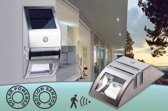 Stainless Steel Solar Power Motion Sensor LED Light Garden Wall Light Path Lamp