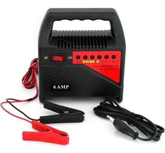 Sweet-Tempered Chargeur De Batterie 6v / 12v Indicateur Led - Voiture / Moto / Quad / Scooter