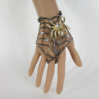 Women Black Metal Hand Chains Slave Ring Fashion Bracelet Gold Spider Net