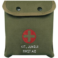 Olive Drab Cotton Canvas 7 X 7 Jungle First Aid Pouch - Pouch Only