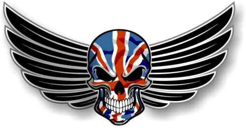 30cm WINGED Biker SKULL wings /& Union Jack British GB Flag car bike sticker