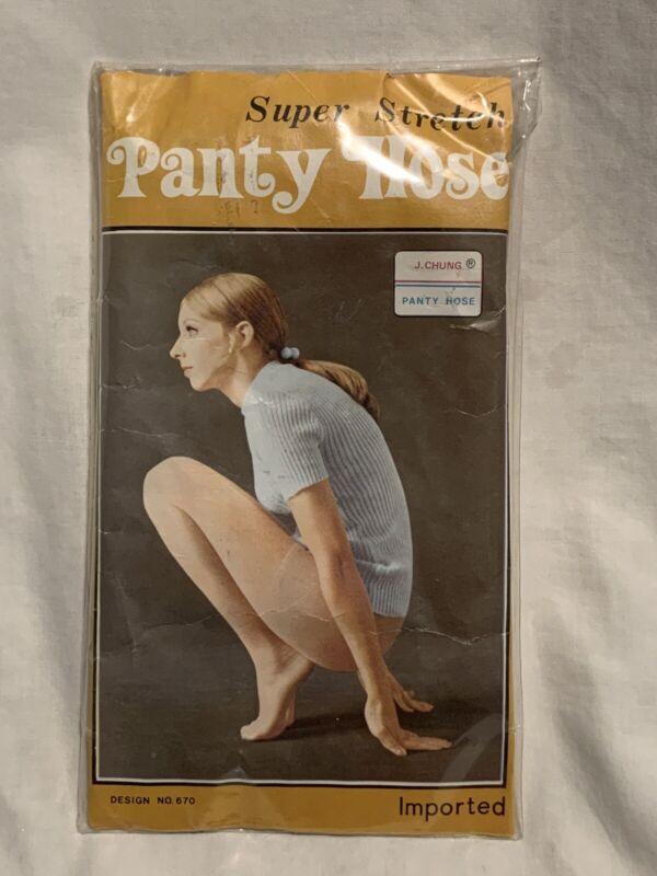 Vintage Nos J Chung Super Strech Panty Hose Nylons Nip