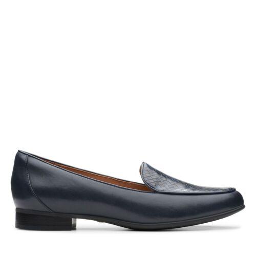 Clarks womens shoe Un Blush Ease Navy combi leather  D width fitting