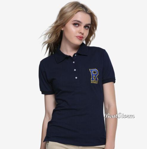 "Details about  /RIVERDALE /""R/"" Logo Uniform Navy Blue Polo Shirt Hot Topic Licensed JRS M /& XL"