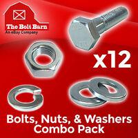 (12) M6-1.0x40 Class 10.9 Hex Cap Screws Hex Bolts, Nuts, Washers, Lock Washers
