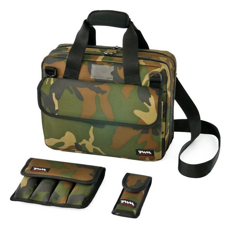 TWM Compact IPSC Range Bag with 2 Airsoft   Pistol Magazine Pouches (Camouflage)