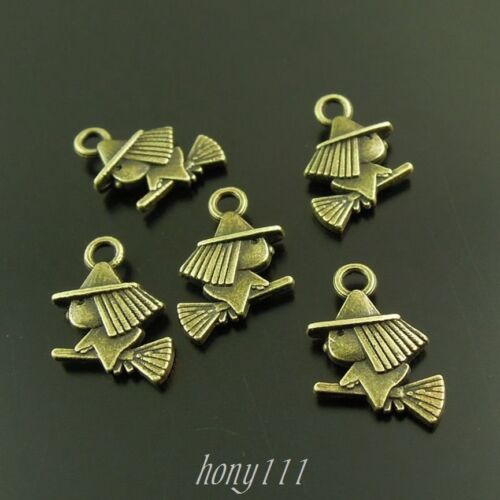 80pcs Vintage Style Bronze Alloy Cute Witch Pendant Charms 12*11*3mm 37904