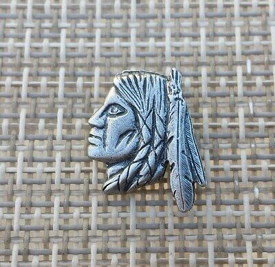 MUSTACHE RIDES 5 CENTS INDIAN HARLEY MOTORCYCLE BIKER PEWTER METAL SILVER PIN