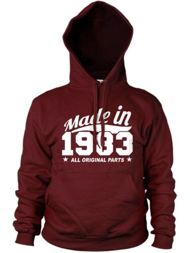MADE IN 1983 ALL ORIGINAL PARTS HOODIE MENS WOMENS FUNNY 80/'S GIFT BIRTHDAY