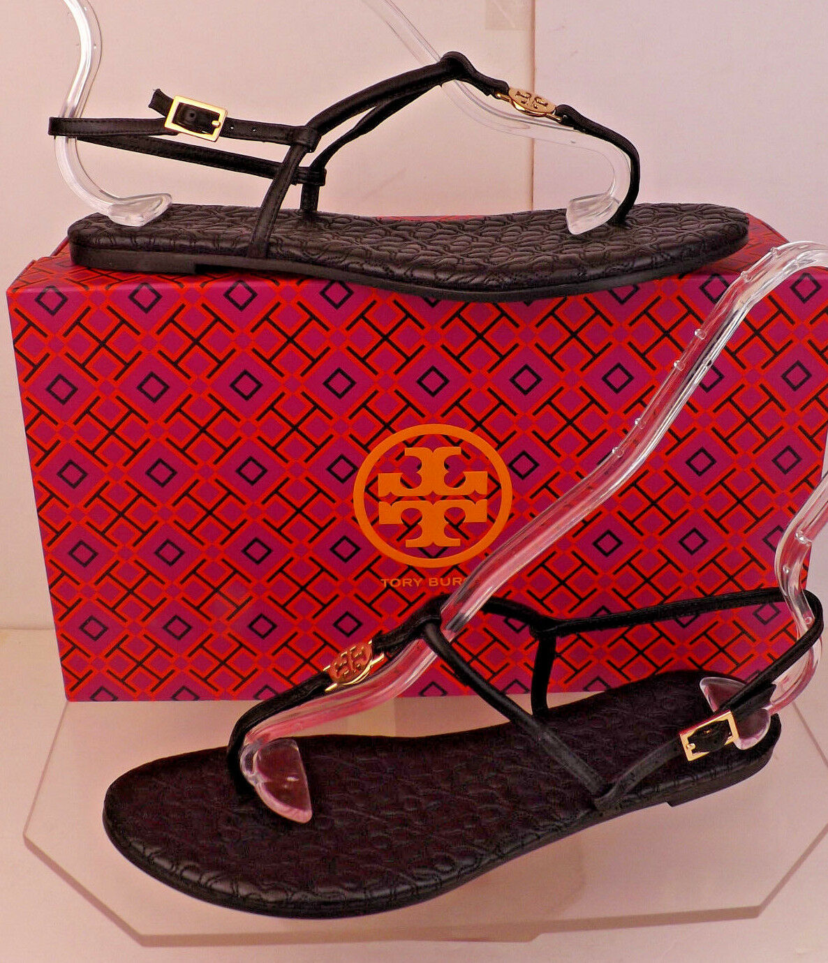 NIB TORY BURCH BLACK BRYANT QUILTED LEATHER GOLD REVA THONG FLATS SANDALS 10