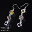 925 Plaqué Argent élégant femme Cristal Creux Cube Tassel Drop Ear Stud Earring