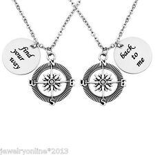 1 Antiksilber Edelstahl Anhänger Halskette Halsschmuck Kompass Gravur Geschenk