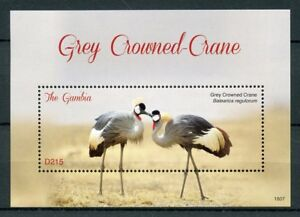 Gambie-2018-neuf-sans-charniere-Grey-Crowned-Crane-1-V-S-S-grues-Oiseaux-Timbres