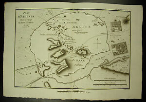 Plan-Athens-Melite-Limnae-Card-1790-Map-Sculp-Tardieu-amp-L-Aubert-Scipsit