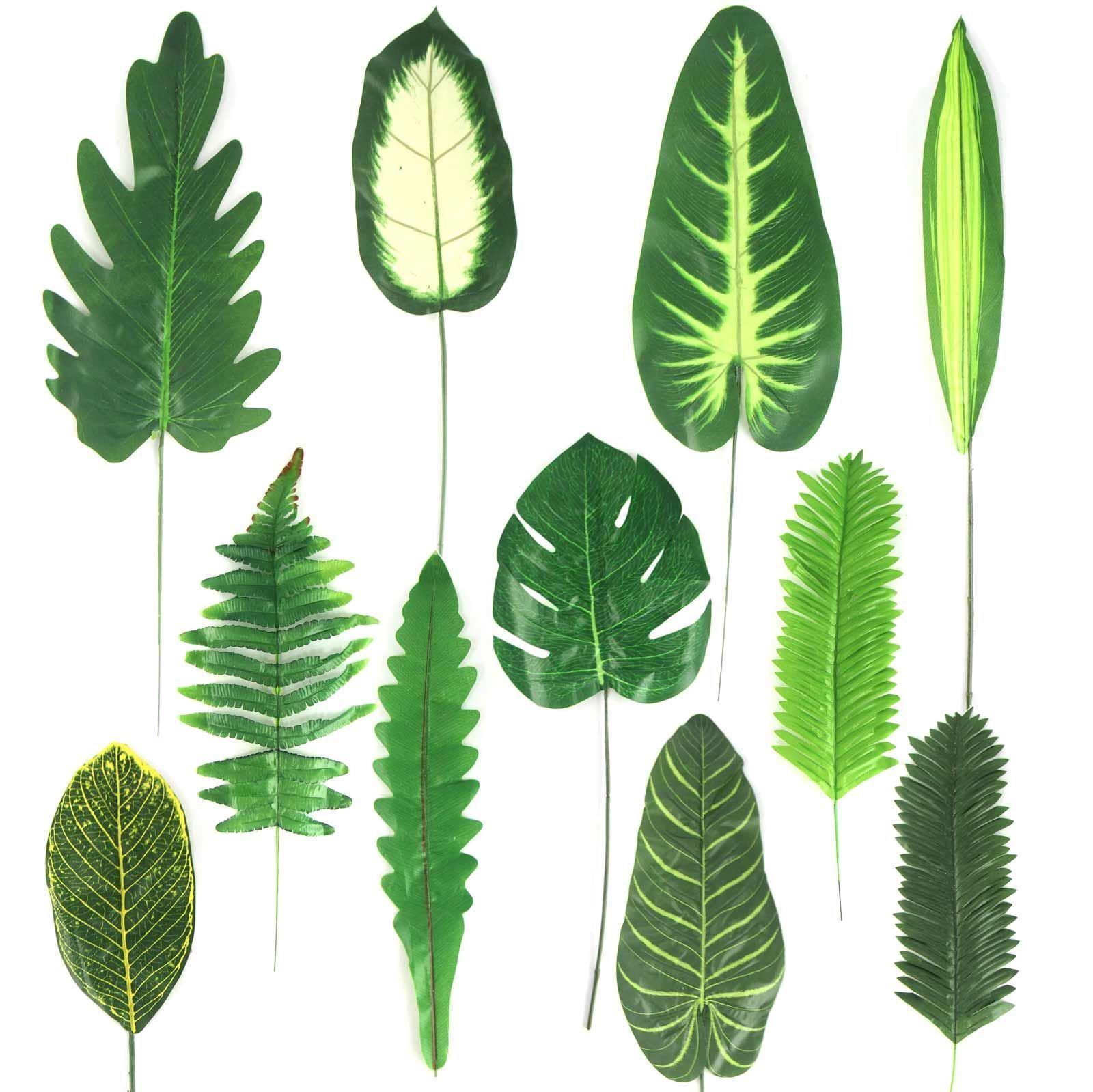 Tropical Single Large Artificial Leaves Buy 3 Get 1 Plastic Silk Fake Giant Fern Leaf For Sale Ebay