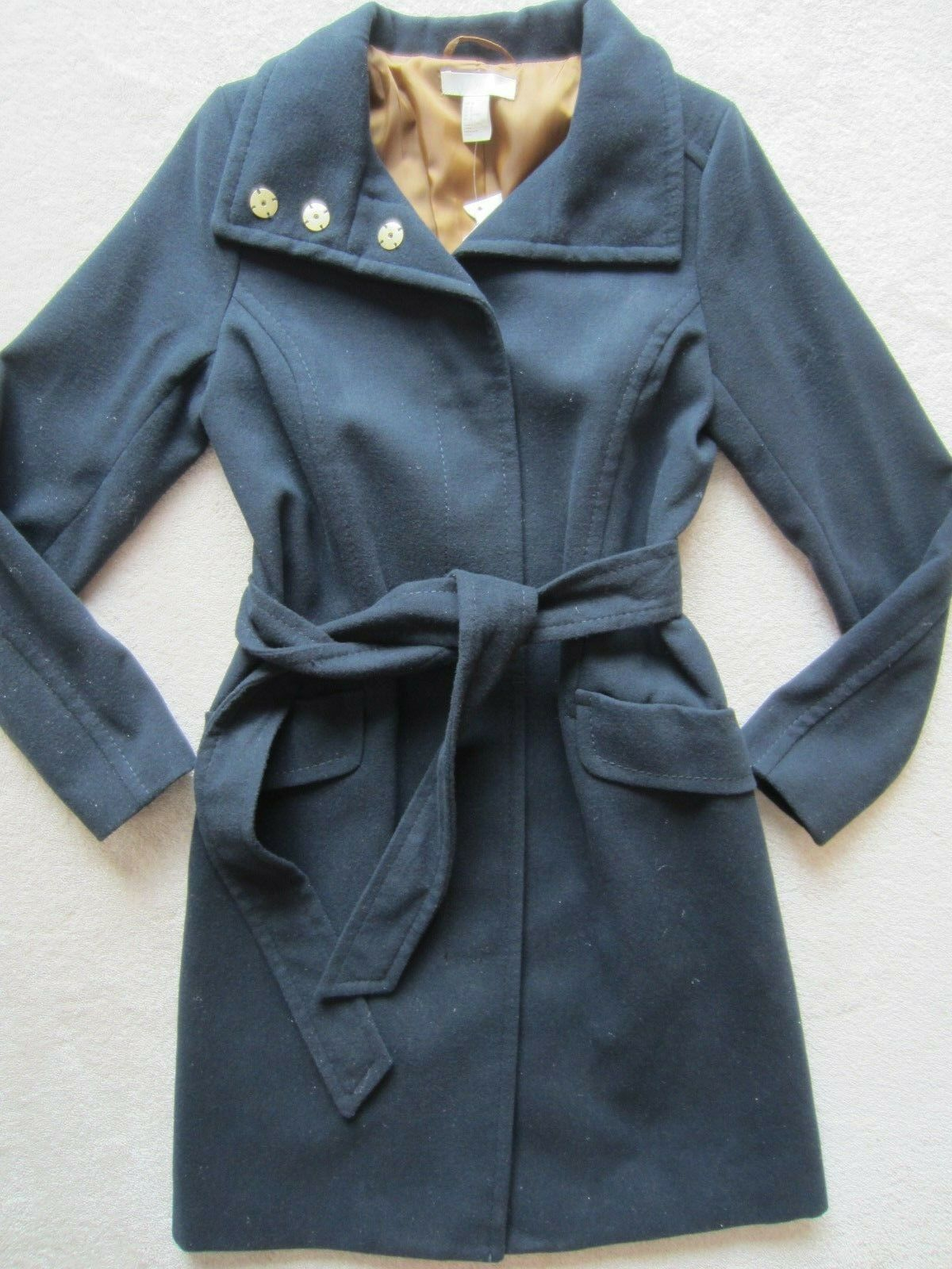 H&M Women's Navy bluee Long Peacoat Snap Button and Tie Waist Size 6 US 36 Eur