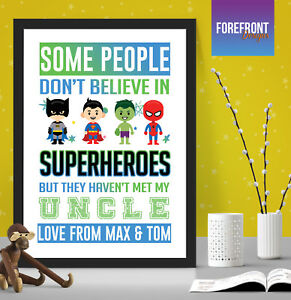 Personalised-FATHER-039-S-DAY-superhero-print-gift-DADDY-DAD-UNCLE-keepsake-A4-A3