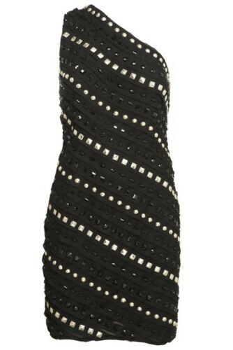 Shoulder Black Party Studded Dress 12 One Warehouse Embellished Size FUazF