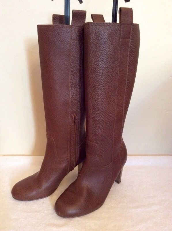 MARKS & SPENCER BROWN LENGTH LEATHER KNEE LENGTH BROWN Stiefel SIZE 4/37 801a85