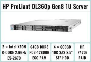 HP ProLiant DL360p Gen8 Server 2×E5-2670 Xeon 8-Core 2.6GHz + 64GB RAM + 4×600GB