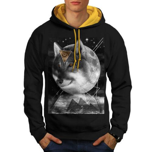 capucha Black Moon Contraste New con Space Wolf Men dorada capucha Cosmos 6xgqzz