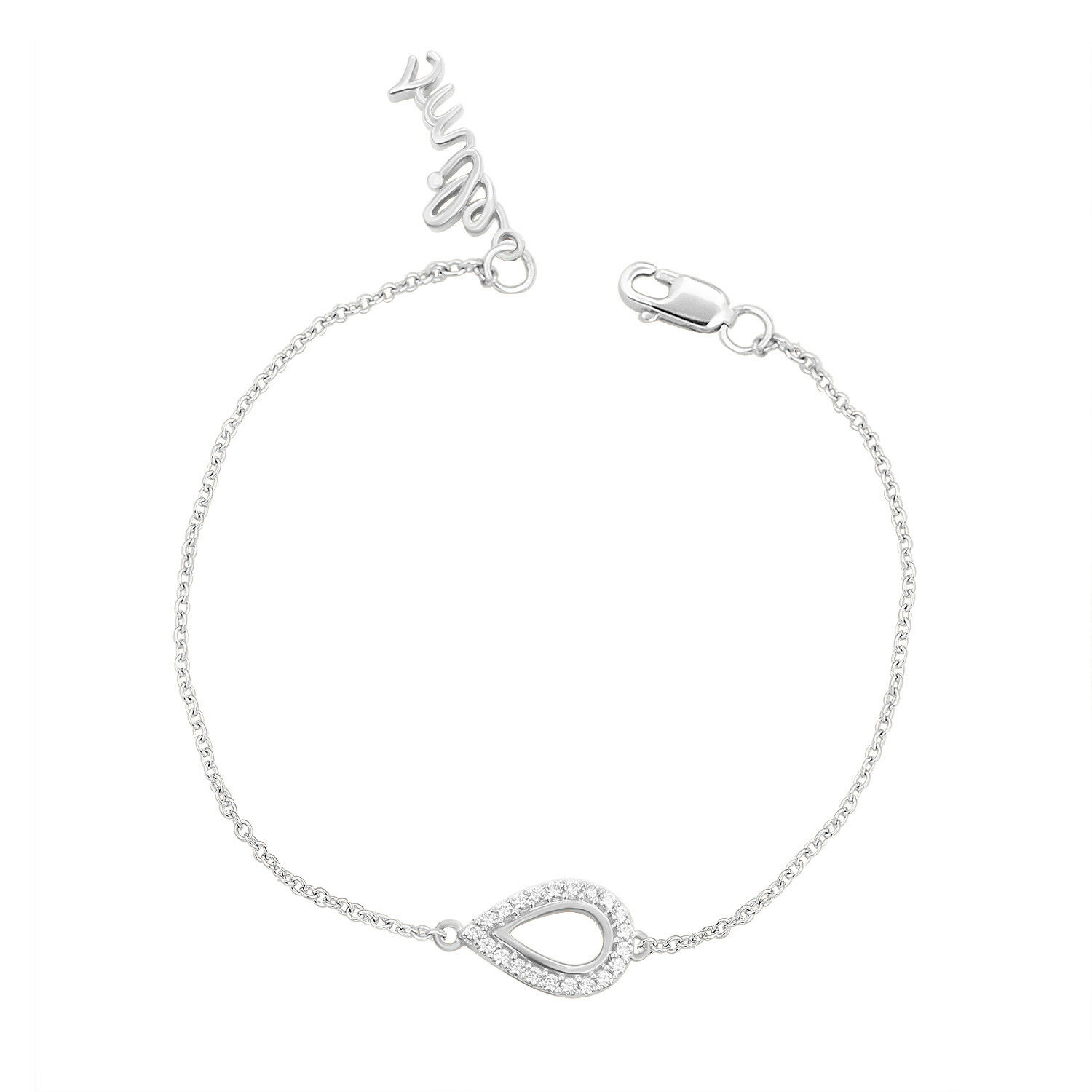 1 6 Ct Real Diamond Pear Shape with Smile Charm 7  Chain Bracelet 10k White gold
