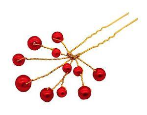 1 épingle à Chignons Perles Rouges , Bijou De Cheveux Mariage Riche En Splendeur PoéTique Et Picturale